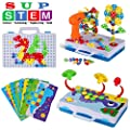224 Pieces STEM Learning Toys Electric DIY Drill Educational Mushroom Pegboard Mosaic Puzzle Construction Engineering Building Blocks Drill Screw driver Tool,Best Early Toys for 3 4 5 6 7 8 9 Year Old