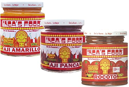 Inca's Food Mixed Sampler - Aji Amarillo, Aji Panca, and Aji Rocoto - (3) 7.5 Oz Jars