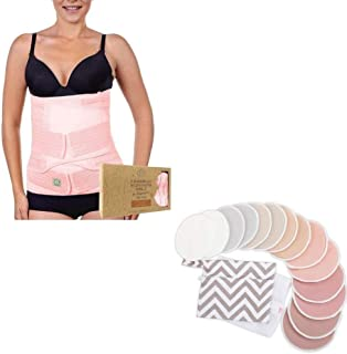 Organic Nursing Pads & Postpartum Belt Support Recovery Wrap Bundle - Maternity Mommy Essentials - Breastfeeding Moms - Po...