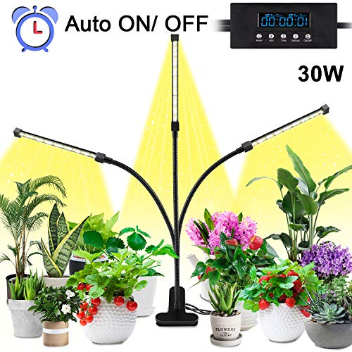Lovebay Pflanzenlampe 30W 40 LEDs, Automatische Zeitschaltuhr Sonnenlicht Pflanzenlicht Lampe Vollspektrum, Dimmbar Schwanenhals Grow led, 5 Arten Helligkeit/3 Arten Farbmodus