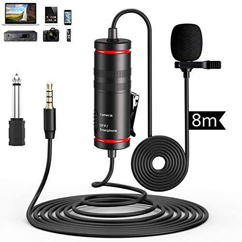 Ansteckmikrofon Lavalier Mikrofon für iPhone/Kamera/PC/Android Rauschunterdrückung für Videoaufzeichnung DSLR YouTube Podcast Interview Vlog (D1)