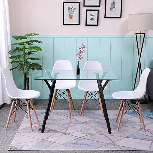 H.J WeDoo Rectangular Mesa de Comedor de Cristal Templado, Mesa de Cocina Moderna Nordica, Patas de Metal, 110X70X75 cm