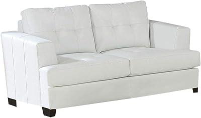 Amazon.com: ACME Furniture 55005 Malaga Sofa, Cream Leather ...