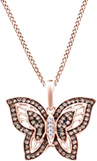 Round Cut Champagne & White Natural Diamond Butterfly Pendant Necklace In 10k Solid Gold (0.33 Cttw)