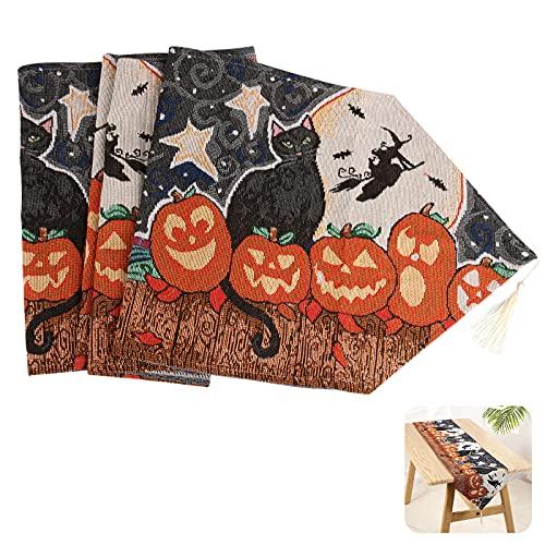 Gxhong Tovaglia di Halloween,Runner Tavola con Nappe Tovaglie Halloween Decorazioni per La Casa...