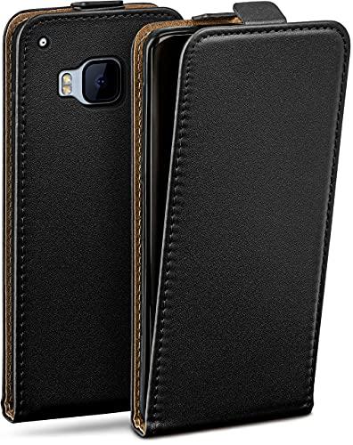 moex Flip Hülle für HTC One M9 Hülle klappbar, 360 Grad R&um Komplett-Schutz, Klapphülle aus Vegan Leder, Handytasche mit vertikaler Klappe, magnetisch - Schwarz