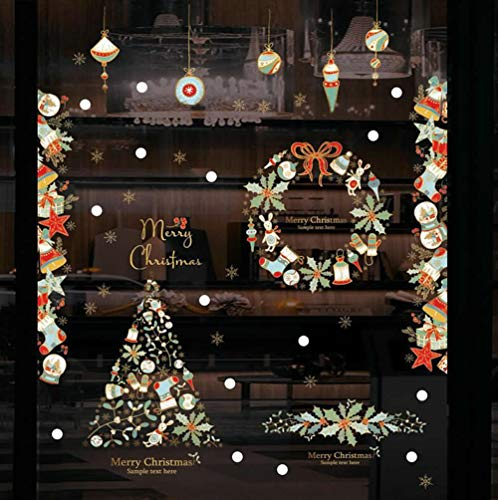 Christmas Window Stickers - Snowflakes/Stars / Wreath / Stocking/Gifts / Balls Removable Xmas Wall Decals for Shop Office Room Doors Home Christmas Decoration