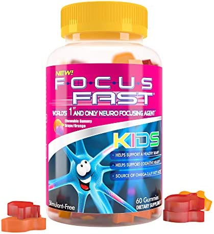 Focus Fast Kids Omega 3 Gummies for Brain Function Cognition Non GMO Vegan Plant Based derived product image