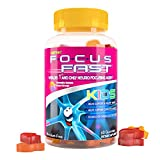 Focus Fast Kids Omega 3 Gummies. for Brain Function & Cognition. Non GMO, Vegan, Plant Based derived from Flax Oil & Alpha-linolenic Acid. Delicious Chewable Grape/Orange Flavor