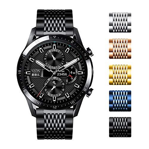 Bandas de reloj de repuesto compatibles con Huawei GT/GT2 42mm 46mm/Huawei Watch 2 Classic/Sport Smartwatch Correa de reloj de acero inoxidable pulido de 15 rejillas de liberación rápida (20mm/22mm)