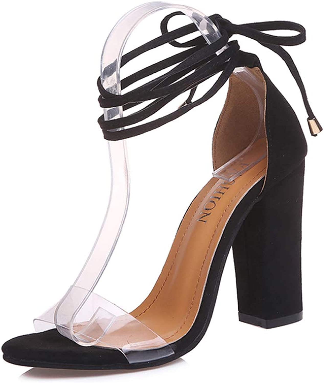 Uirend Women shoes Heeled Sandals - Ladies Dress shoes Block Heel 10cm Peep Toe Ankle Cross Strap Sexy Transparent Pumps Fashion Charms Slim Wedding High Heel