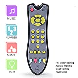 DUDU TV Remote Control Toy/Musical Play with Light and Sound/for 6 Months+ Toddlers Boys or Girls Preschool Education/Three Language Modes: English, French and Spanish/Black Body,Colored Buttons