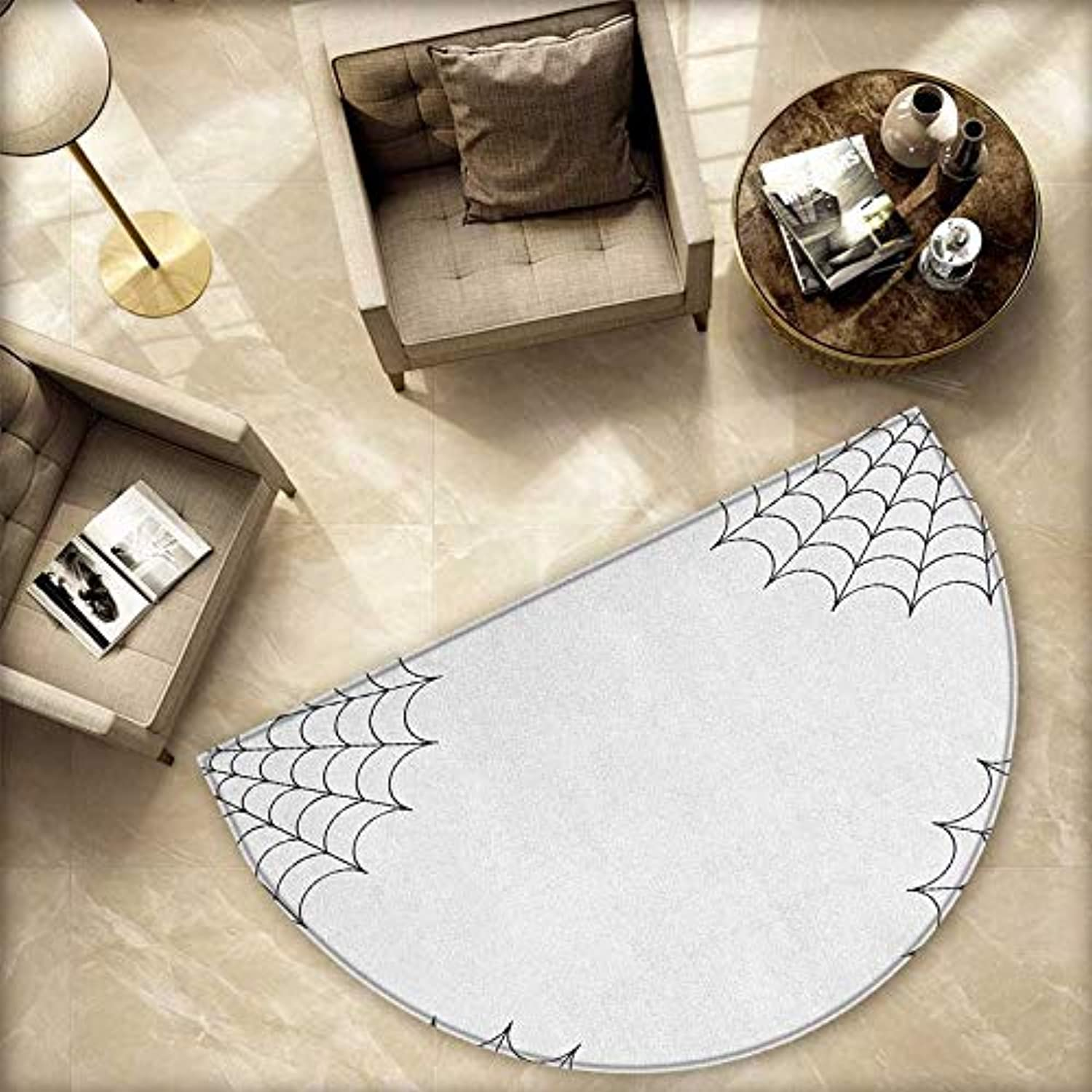 Spider Web Semicircle Doormat Classical Insect Thread on Corners Simple Minimalist Design Venomous Toxic Bug Halfmoon doormats H 78.7  xD 118.1  Black White