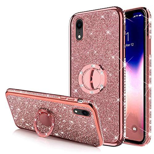 Carcasa para iPhone XR con diseño de brillantes brillantes brillantes y brillantes con purpurina de silicona de poliuretano termoplástico, marco cromado, oro rosa