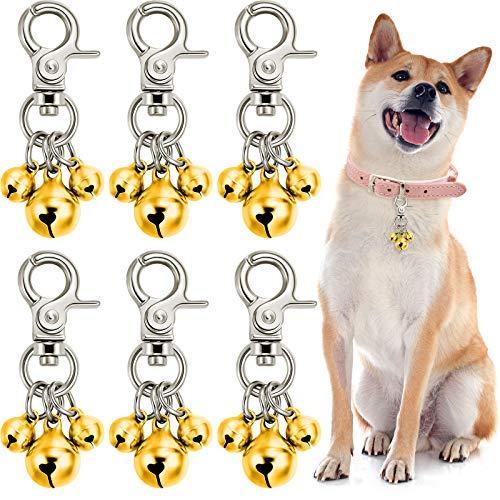 6 Piezas Encantos de Collar de Campana de Perro Campanas de Collares de Mascotas Llaveros de Campanas de Perro Ruidosos Colgante Triple Campana de Perro para Gato Entrenamiento (Oro)