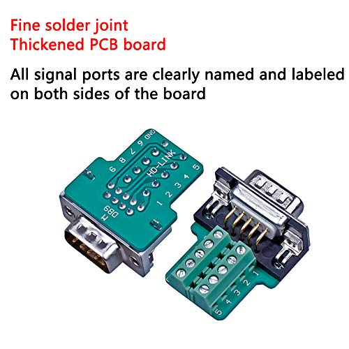Anmbest 2PCS DB9 Solderless RS232 D-SUB Serial to 9-pin Port Terminal Male Adapter Connector Breakout Board with Case Long Bolts Tail Pipe (2PCS Male)