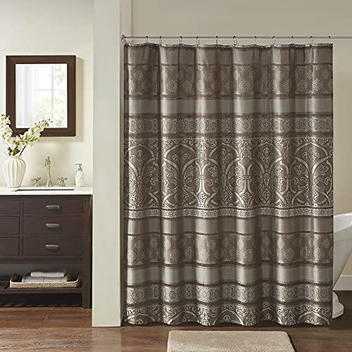 Madison Park Essentials Zara Jacquard-Duschvorhänge, maschinenwaschbar, traditionelles Design, 183 x 183 cm, Braun