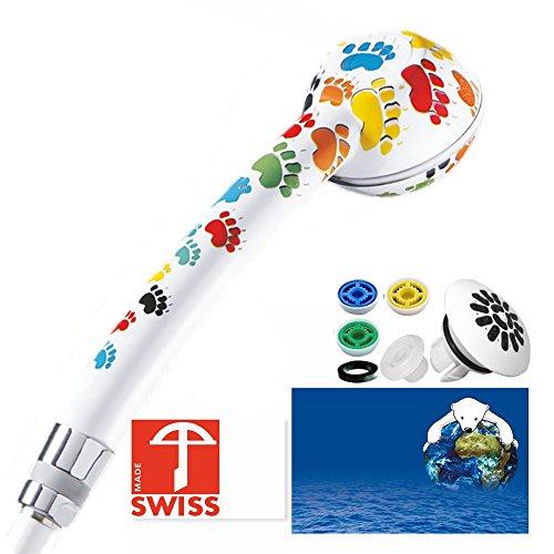 Duschkopf SwissClima TÄTZLI TOP! Kräftig für mehr Druck, zB Durchlauferhitzer und weniger Wasser: verkalkungsfreie Handbrause, Regenstrahl-Aufsatz, 3 Reduzierer, SwissMade