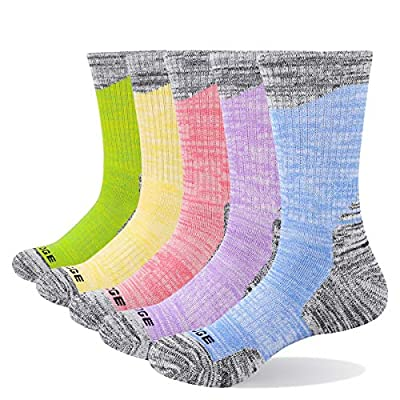 YUEDGE Women's Breathable Cotton Cushion Crew Athletic Hiking Socks (L)