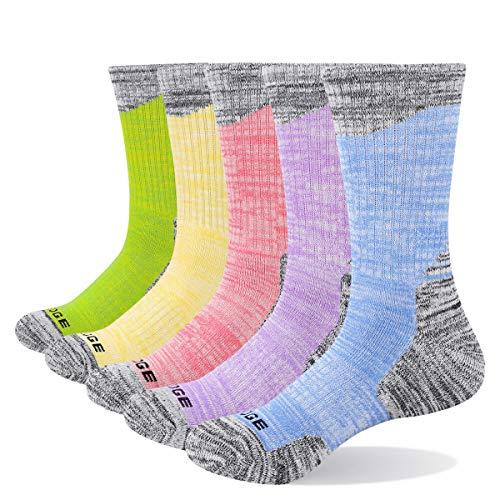 YUEDGE Women's Moisture Wicking Cotton Cushion Crew Socks Sports Outdoor Athletic Hiking Socks (L)