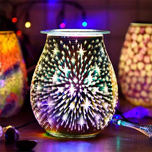 TiooDre Duftlampe Wachs 3D Feuerwerk Scentsy Duftlampe Energie Sparen Duftlampe Elektrisch Duftlampe Teelicht Elektrisch Duftöl Lampe für Home Office Schlafzimmer Geschenke (3D Star)