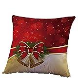 Fossrn Fundas Cojines 45x45 Navidad Decoracion Patrón de Campana Funda de Cojines para Casa Sofa Jardin Cama (01)