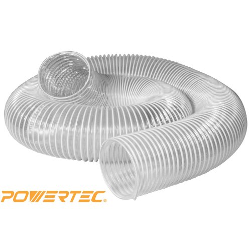 POWERTEC 70143 Heavy Duty 4-Inch x 20-Foot PVC Flexible Dust Collection Hose, Clear Color