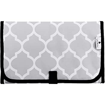 Travel Changing Pad,Portable Changing Pad,Diaper Changing Pad for Baby Waterproof and Lightweight,Gray Pattern