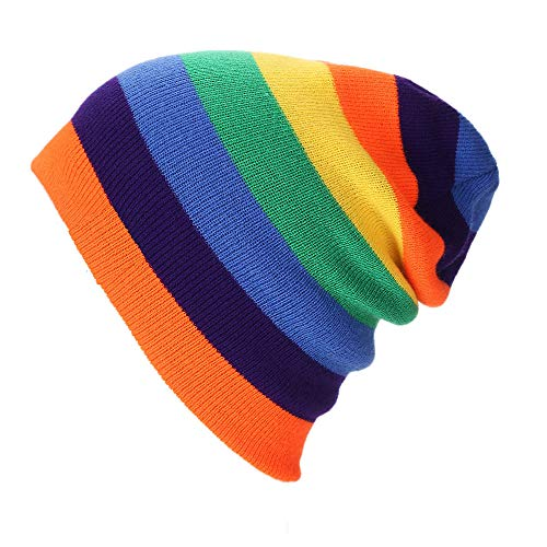 Lonfenner Rainbow Hat Winter Women Beanie Ski De Punto Otoño Star Beanies Skiing Bonnets-Orange