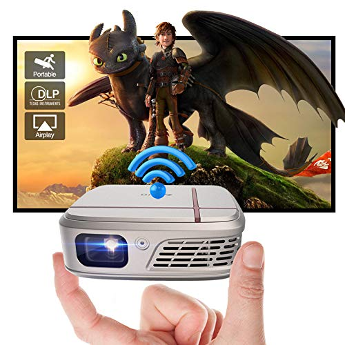 Portable Outdoor DLP Projector 3D Mini WiFi Wireless Screen Sync Home Theater Movie Projector Battery Powered 1080P Support with Auto Keystone for Laptop Tablet Smart Phone TV Stick PS5 Wii HDMI USB
