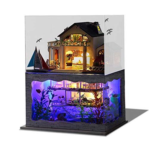 FBGood Hawaii Villa Puppenhaus DIY Miniatur Haus, 3D Holz Dollhouse Möbel Modell Bausatz mit LED Licht Kreativ Puzzle Spielzeug Home Decor Geburtstag Geschenk für Kinder Jugend