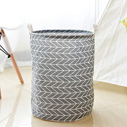 Swadal Cesto para la ropa sucia, plegable, de tela, portátil, ligero, redondo, 35 x 35 x 45 cm (gris)