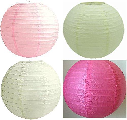 Verpakking met 12 papieren lantaarns, maat 12 inch (30 cm), kleuren (wit, ivoor, lichtroze, warm roze), feest, bruiloftsdecoratie, lampenkap