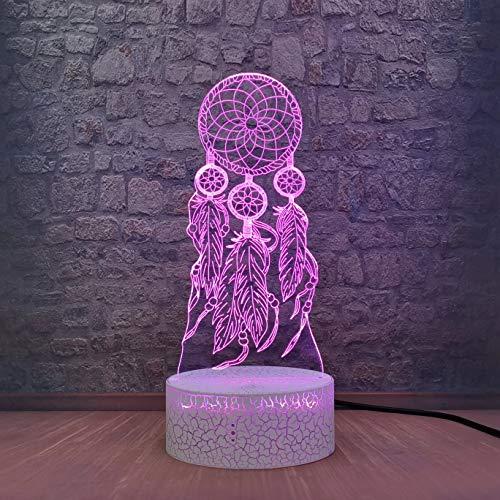 Atrapasueños creativo lámpara 3d lámpara de mesa pequeña decoración de sala de estar luz de noche led es el mejor regalo para amigos con base agrietada