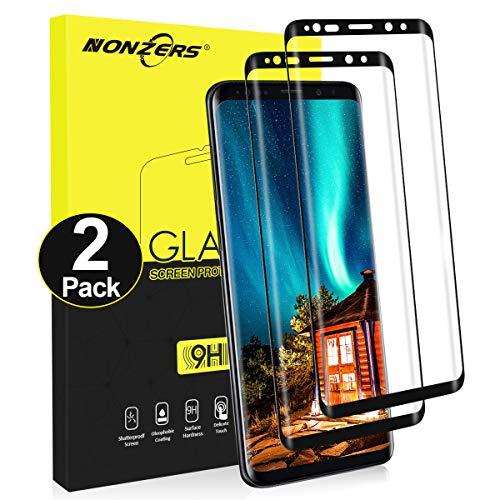 NONZERS Cristal Templado para Samsung Galaxy S9 Plus [2 Unidades], 3D Cobertura Completa, Sin Burbujas, Alta Definicion, 9H Dureza, Anti-Arañazos, Samsung Galaxy S9 Plus Protector de Pantalla, Negro