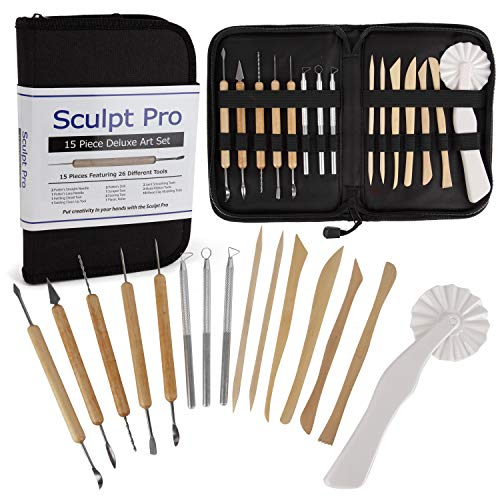 Sculpt Pro Pottery Tool Starter Kit - 15-Piece 26-Tool Beginner's Clay...