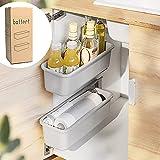 Baffect 2 pezzi Organizzatore mobile per cestello scorrevole per bagno in cucina, cassetti estraibili sotto organizer per lavandino Cestini scorrevoli fissati a parete per dispensa Doccia (grigio)