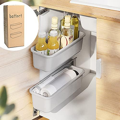 Baffect 2 pcs coulissant panier armoire organisateur pour cuisine salle de bains, tiroirs tiroirs sous évier placards organisateurs muraux coulissants paniers de rangement pour épices (gris)