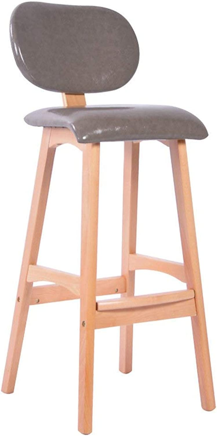 YQY Chair- Bar Stool Solid Wood + Pu Nordic Style Meal Stool Fashion High Stool