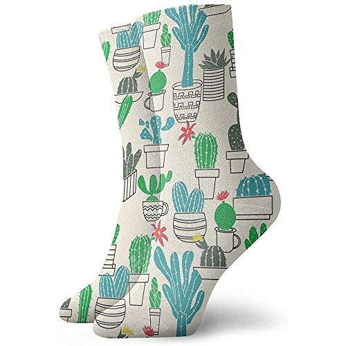 Be-ryl Moisture Wicking Crew Socks für Männer und Frauen Cute-Topf-Kakteen Socken
