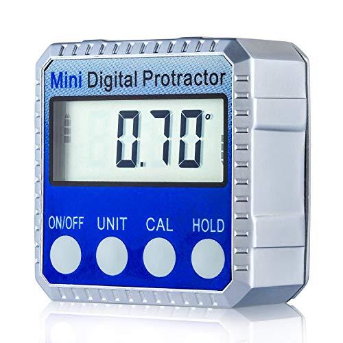 Inclinómetro Digital Magnético, 0-360° Transportador de Ángulos Medidor de Ángulo Caja de Bisel de Aluminio con Base Magnética