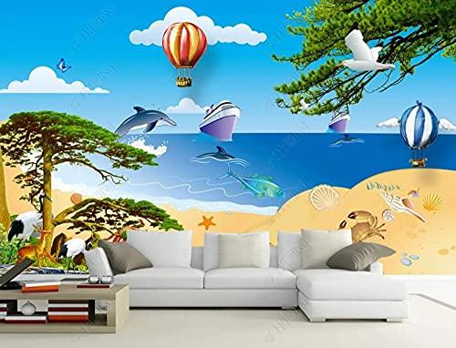 Papel Pintado Pared 3D Pared Árboles Delfines Globo De Aire Caliente Paisaje Marino Fotomurales Decorativos Pared Decoración Mural Pared