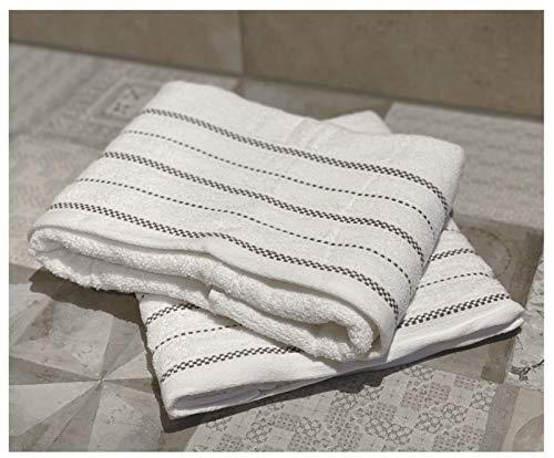 heimtexland ® 2er Set Duschtücher 100% Baumwolle Super Soft Frottier 420 GSM Webkante Handtuch Badetuch 140x70 Weiß 2 Stück Typ674