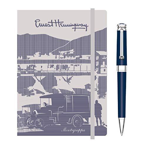 Kit scrittura Penna + Notebook MONTEGRAPPA Parola Sfera a Rotazione, Blu Navy + notebook Hemingway con elastico