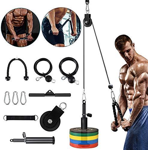 Kacsoo 10-teiliges Fitness-Seilzug-Kabelsystem, Heimtrainings-Fitnessgeräte, Unterarm-Handgelenkrollen-Trainer Armkrafttraining für Pulldowns, Bizeps-Curl, Trizeps-Verlängerungen