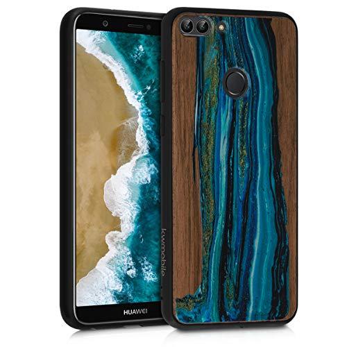kwmobile Cover in Legno Compatibile con Huawei Enjoy 7S / P Smart (2017) - Custodia Rigida con Bumper in Silicone TPU in Legno di Noce Onda Blu/Marrone