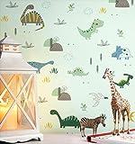 NEWROOM Kindertapete grün Dinosaurier Pflanzen Kinder Papiertapete Papier Kindertapete Kinderzimmer Babytapete Babyzimmer Fauna