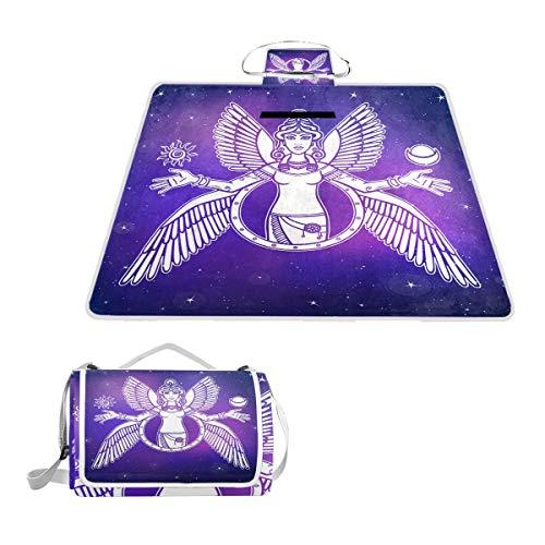 TIZORAX Couverture de Pique-Nique Pliable pour extérieur Motif déesse Ishtar Angel Queen The Night Star Ciel Couverture de Pique-Nique imperméable