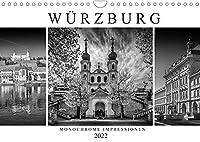 WUeRZBURG Monochrome Impressionen (Wandkalender 2022 DIN A4 quer): Sommerliche Ansichten aus dem historischen Stadtherz (Monatskalender, 14 Seiten )