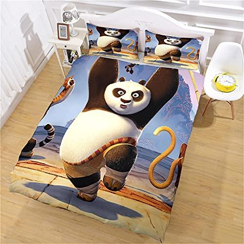 Juego De Cama 3D Panda Funda Nórdica Y Funda De Almohada, 135X200 Cm Ropa De Cama Infantil Poliéster Funda De Edredón, Suave y Transpirable, Tamaño Completo